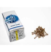 Reisser facsavar 4x60mm Sárgított acél tövigmenetes 500db/doboz