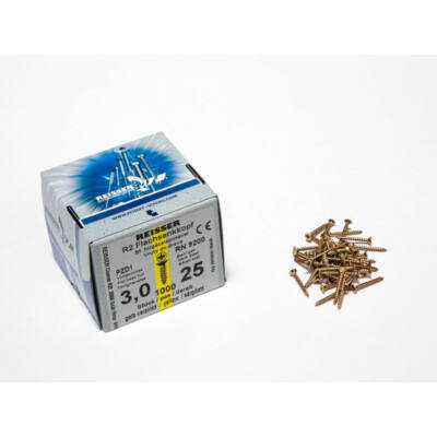 Forest Reisser facsavar 3x25mm Sárgított acél tövigmenetes 1000db/doboz 10007110125