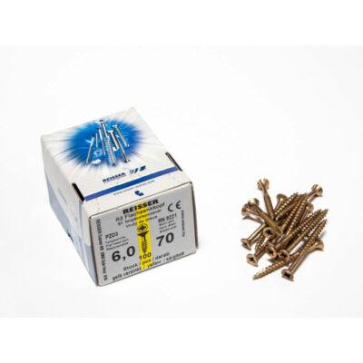 Forest Reisser facsavar 6x70mm Sárgított acél részmenetes 100db/doboz 10007111605