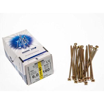 Forest Reisser facsavar 6x160mm Sárgított acél részmenetes 100db/doboz 10007111650